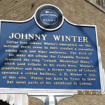 Plaque celebrating Johnny Winterin Leland, Mississippi